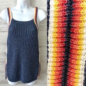 AMERICAN EAGLE Rainbow Striped Knit Sweater Tank